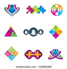Unification of social community network and communication icons on white background logo leader teamwork business vector illustration