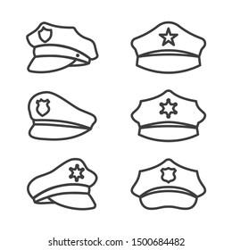 uniform cap of police service vector line icons