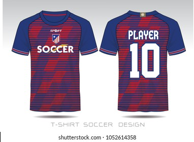 Uniform football Design. Blue and Red layout Soccer jersey or football kit template for sport shirt. Football t-shirt mock up. Front and back view soccer uniform.Vector Illustration.