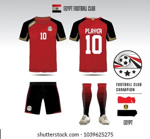Uniform football Design. Red and black layout Soccer jersey or football kit template for sport shirt. Football t-shirt mock up. Front and back view soccer uniform. Vector Illustration.