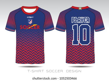 Uniform football Design. Red and blue layout Soccer jersey or football kit  template for sport 591b64268