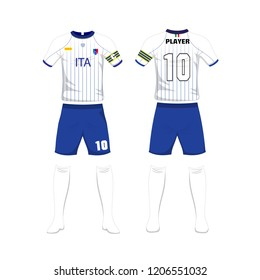 Uniform of football Italy sport design template.Sport uniform in front and back view. Vector Illustration on white background.