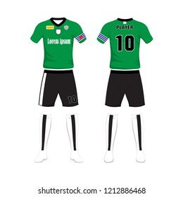 Uniform of football sport design template. Sport uniform in front and back view.Vector Illustration on white background.