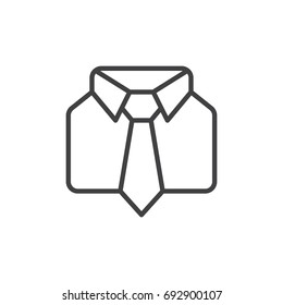 Uniform line icon, outline vector sign, linear style pictogram isolated on white. Shirt and tie symbol, logo illustration. Editable stroke. Pixel perfect vector graphics