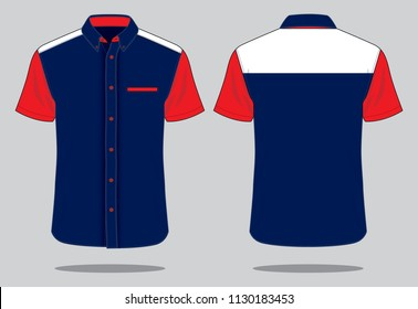 Uniform Shirt Design Vector : Navy / Red / White
