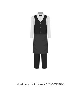 Uniform of waiter. Shirt with bow-tie, vest, pants and apron. Clothes of restaurant worker. Flat vector design