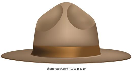 The uniform wide-brimmed hat of the ranger. Vector illustration.