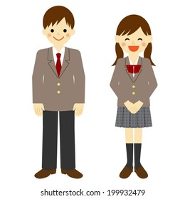 Uniformed school boy and school girl / Vector EPS 10 illustration