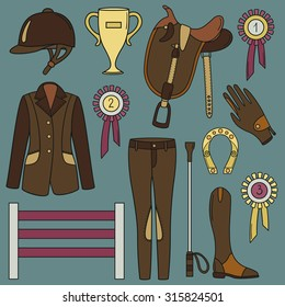 Uniforms for the horse rider, icon set vector. Doodle collection of equestrian objects. Horseback and riding essentials. Collection of equestrian equipment for horse