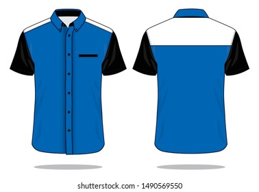 Uniforms Shirt Design Vector (Blue / Black / White) : Front and Back View