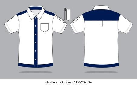 Uniforms Shirt Design : White / Navy