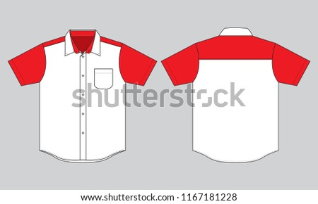bbc51522f ... Vector (Royalty Free) 1167181228 - Shutterstock. Uniforms Shirt Design  : White / Red Front & Back View