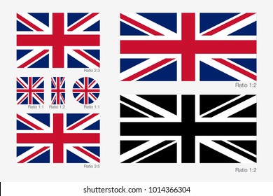 Union Jack. Flag of United Kingdom of Great Britain with Different Ratio and Correct Color Scheme. Vector illustration