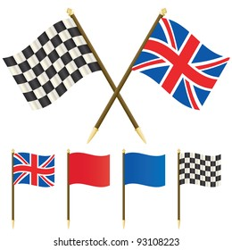 union jack flag and winners checkered flag isolated on white