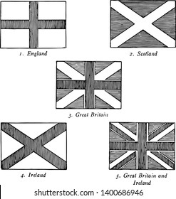 The Union Jack it has five flags England with cross Scotland with Saltire Great Britain with cross and saltire Ireland with Saltire and Great Britain and Irland with saltire and cross superimposed