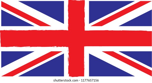 Union Jack with rough edges in around the centre cross.