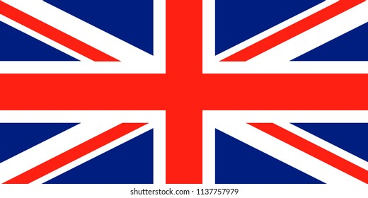 Union Jack. United Kingdom flag. Red cross on combined red and white saltires with white borders, over dark blue background. Flag of Great Britain. Flag of United Kingdom