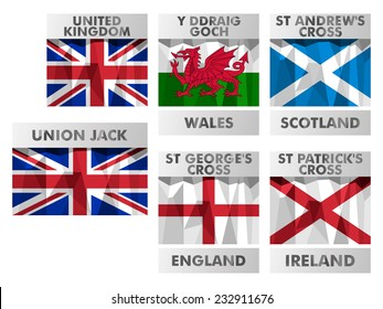 Union Jack, Wales, Scotland, England, Northern Ireland flags icons set in polygonal style