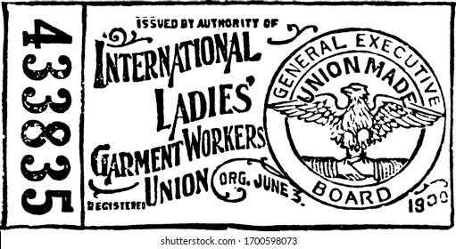 Union label, vintage engraved illustration.