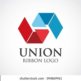 Union ribbon of connection abstract vector and logo design or template unity business icon of company identity symbol concept