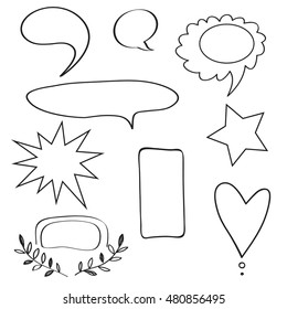 Uniqiue handdrawn shapes isolated on background and easy to use. Hand sketched design elements.