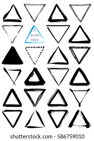 Uniqiue handdrawn shapes of triangles for logo design. Isolated vector illustration on white background.