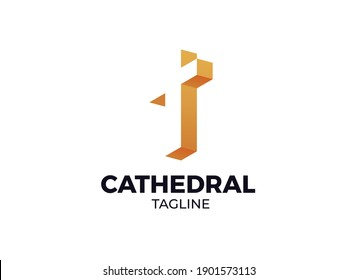 A Unique 3D modern Cathedral Church Logo or Icon