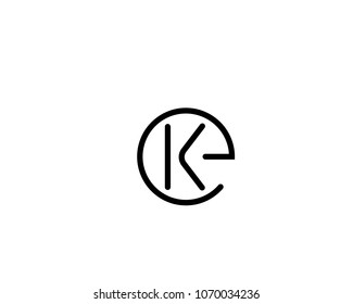 Unique, Abstract , Creative and simple alphabet  letter EK,KE,K and E logo in circle shape