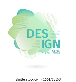 Unique abstract graphic elements. Banner with a gradient shape. Design template for presentation or flyer. Abstract forms with green dynamic composition. Minimal mesh background. Modern style vector