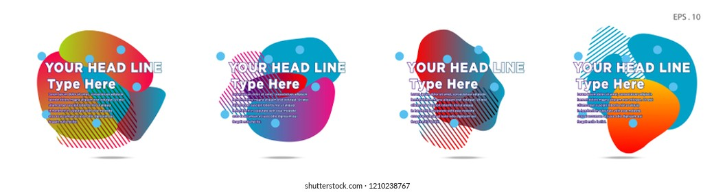 Unique abstract graphic elements. Banner. set fluid/liquid, Design templates for presentations or flyers. Abstract shapes with color composition. Minimal mesh background. Modern style vector in EPS 10