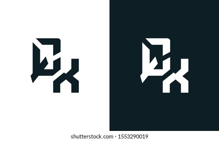Unique abstract letter QX logo. This logo icon incorporate with two abstract shape in the creative process.