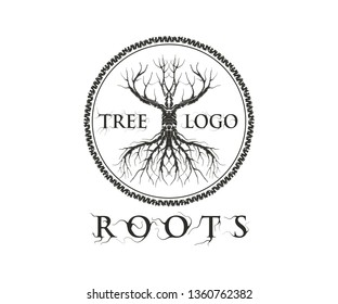 unique abstract molt tree vector illustration, with circle shape around it,  suitable for logo and tattoo.