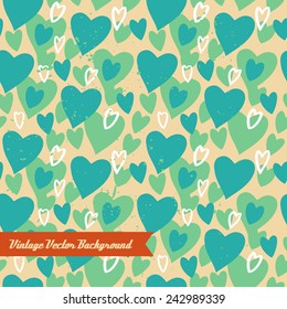 Unique abstract random seamless pattern. The vector hand draw background. Best for wedding cards, bedroom, bags. Hearts.