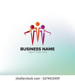 Unique Abstract Youth Social Activities Logo Template for Your Company, Business, Association, Community. Three people who are embracing icon illusrtration.
