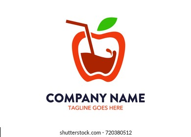 Unique Apple Juice Food And Drink Logo Template