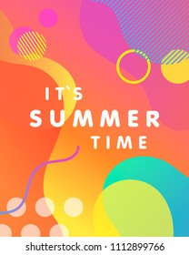 Unique artistic card - it`s summer time with gradient background,shapes and geometric elements in memphis style.Bright poster perfect for prints,flyers,banners,invitations,special offer and more.