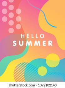 Unique artistic design card - hello summer with gradient background,shapes and geometric elements in memphis style.Bright poster perfect for prints,flyers,banners, invitations,special offer and more.