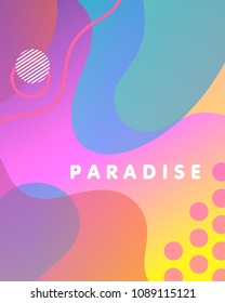 Unique artistic design card - paradise with gradient background,shapes and geometric elements in memphis style.Bright summer poster perfect for prints,flyers,banners,invitations,special offer and more