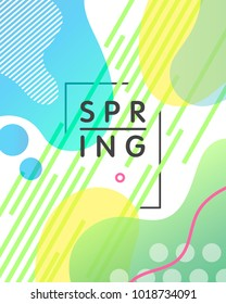 Unique artistic design card - spring with bright gradient background,shapes and geometric elements in memphis style.Abstract card perfect for prints,flyers,banners,invitations,special offer and more.