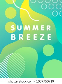 Unique artistic design card - summer breeze with gradient background,shapes and geometric elements in memphis style.Bright poster perfect for prints,flyers,banners,invitations,special offer and more.