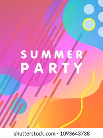 Unique artistic design card - summer party with gradient background,shapes and geometric elements in memphis style.Bright poster perfect for prints,flyers,banners,invitations,special offer and more.