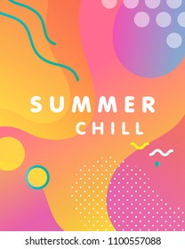 Unique artistic design card - summer chill with gradient background,shapes and geometric elements in memphis style.Bright poster perfect for prints,flyers,banners,invitations,special offer and more.