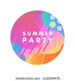 Unique artistic design card - summer party with gradient background,shapes and geometric elements in memphis style.Bright poster perfect for prints,flyers,banners, invitations,special offer and more.