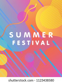 Unique artistic design card - summer festival with gradient background,shapes and geometric elements in memphis style.Bright poster perfect for prints,flyers,banners,invitations and more.