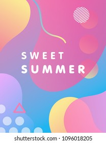 Unique artistic design card - sweet summer with gradient background,shapes and geometric elements in memphis style.Bright poster perfect for prints,flyers,banners,invitations,special offer and more.