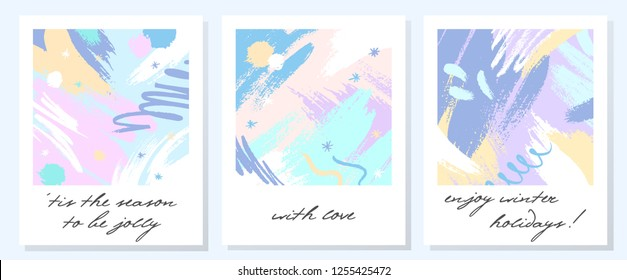 Unique artistic holidays cards with hand drawn shapes and textures in soft pastel colors made by ink.Unique design perfect for prints,flyers,banners,invitations,covers and more.Modern vector collages.