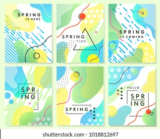 Unique artistic spring cards with bright gradient background,shapes and geometric elements in memphis style.Abstract design cards perfect for prints,flyers,banners,invitations,special offer and more.