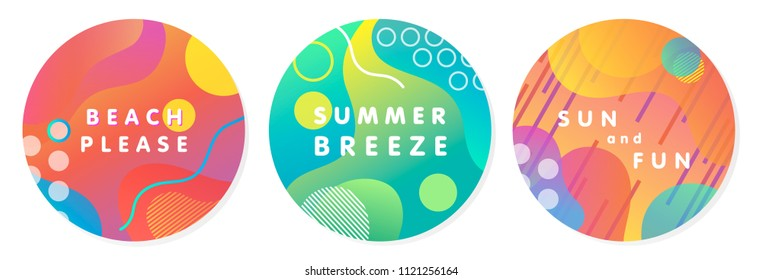 Unique artistic summer stickers with gradient background,shapes and geometric elements in memphis style.Abstract design cards perfect for prints,flyers,banners,invitations,special offer and more.