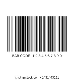 Unique bar code template. Striped identification information about product. Vector illustration isolated on white background