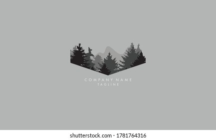 Unique and beautiful forest trees logo icon, travel and tourism company vector template